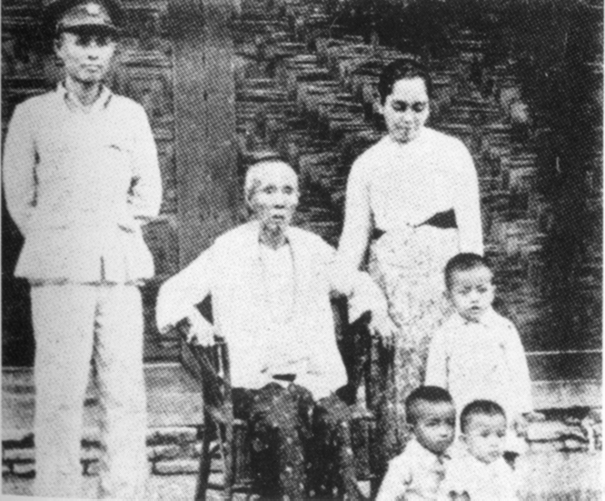 Bogyoke Aung San, Daw Su (his mother), Daw Khin Kyi and their children (Aung San Oo, Aung San Lin, and Aung San Suu Kyi). (April 1947)
